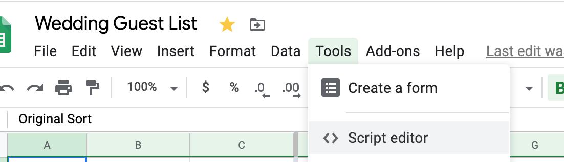 Google Sheets - Script Editor