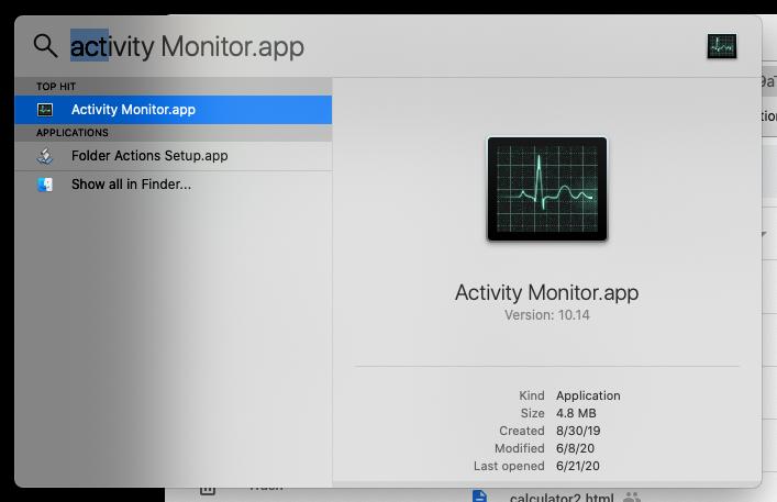 Spotlight > Activity Monitor