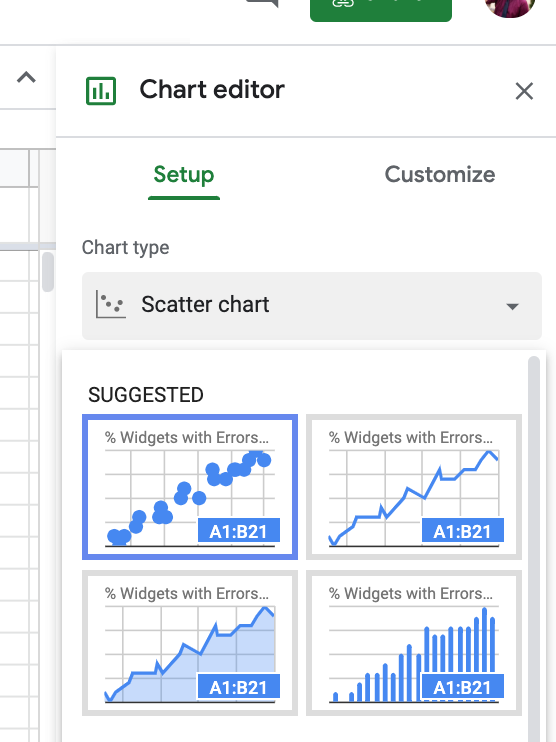 select scatter plot from suggested