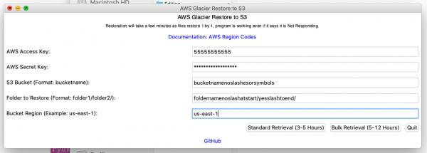 Example AWS Glacier Restore to S3
